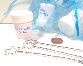 20 Party Favor Bags - Frozen - Cinderella - Brave - Match Any Theme - Bubble Wands with Personal Message - Custom Colors