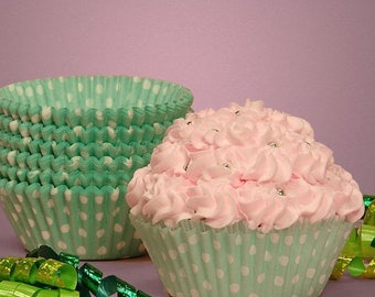 Mothers Day Sale 50 Pc Pretty Aqua/Mint green Polka Dot Cupcake Liners 2X1.25 Inch Size Perfect for Parties
