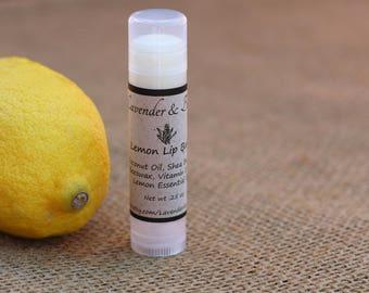 Natural Lip Balm, Lemon, Homemade Lip Balm, Beeswax Lip Balm, Shea Butter Lip Balm,
