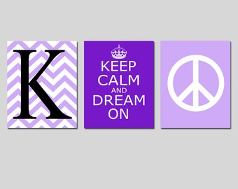 Girl Bedroom Decorations - Tween Wall Art - Keep Calm and Dream On, Chevron Initial, Peace Sign - Set of 3 Prints - CHOOSE YOUR COLORS