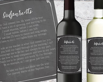 Will You Be My Godparent Wine Labels | 3.5 x 4 inches | Printable | Godparents Gift Ideas, Chalkboard Wine Bottle Label, Godmother Godfather