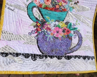 MarveLes PAPER PATTERN for A Cup {or Three} of Happy Quilt Wall Hanging Floral  Home Decor Tea cup Coffee cup