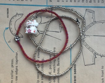 Maneki-neko Beaded Bracelet Set