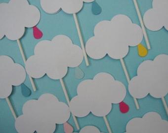 Baby/wedding sprinkle shower cloud cupcake toppers set of 12