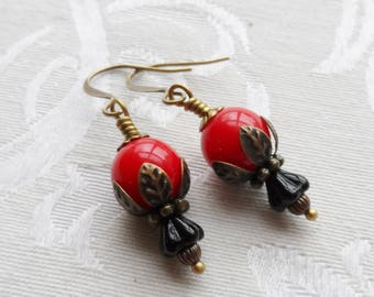 75% Off Clearance Sale, Blossom Earrings, Red and Black