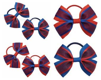 Royal blue and red organza hair bows, thick hair bobbles, Girls school hair accessories, hair bands, Pretty hair accessory bows, Bows UK