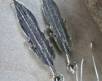 Silver Feather Earrings, Stelring Silver, Oxidized, Leaf Earrings, Silver Earrings, Long, Irisjewelrydesign