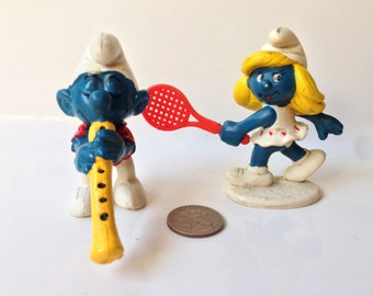 1980's PVC Smurf and Smurfette Figures