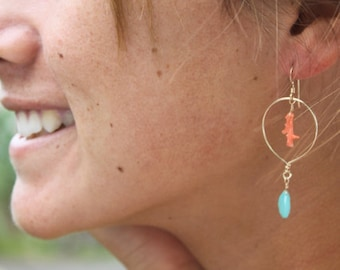 14kt Gold Filled Drop Earrings Adorned with Natural Branch Coral and Turquoise Chalcedony