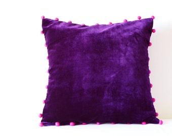 Purple Velvet Pillow with Pink Pom Poms , Purple Velvet Cushion Cover , Decor Pillow , Velvet Throw Pillow , Housewares , Velvet Cushion