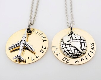 BRASS Long Distance Relationship Necklace set his her  There and Waiting  LDR  Long Distance Love going away gift long distance love gift