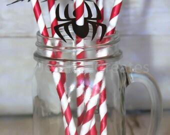 Spider-man Paper Straws - Custom Straws - Spider Straws - Superhero Straws - Birthday - Spider