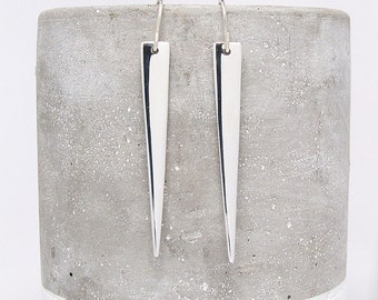 Silver Spike Earrings - Silver Earring - Long Triangle Earrings - Dangle Earrings