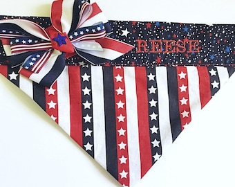 Personalized Patriotic 4th of July Dog & Cat Bandana with Stars and Stripes