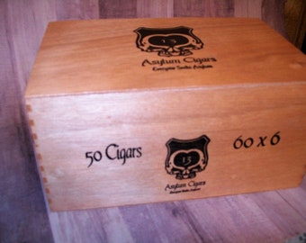 Wooden Cigar Box - Empty - Asylum Cigars 13  60 x 6