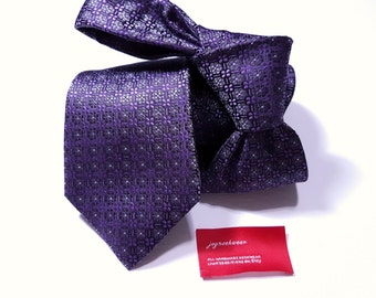 Silk Tie with Plum Purple and Charcoal Grey Floral