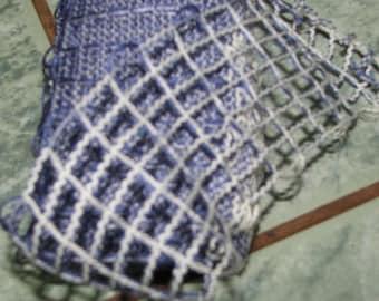 Carolina Katia - cotton RUFFLED checkered Blue Ribbon in cream