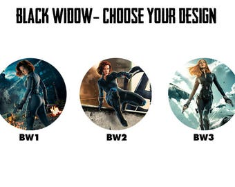 "BLACK WIDOW 2.25"" Button Style Pins, Mirrors, Magnets, Bottle Openers & Keychains"