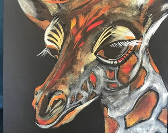 Giraffe - 11x14 - Canvas Board, Acrylic Painting