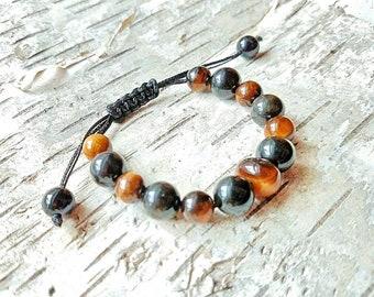 Tigers eye and black obsidian bracelet