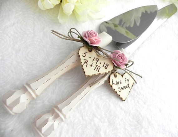Rustic Wedding Cake Server Knife Set Cream Handle Dusty Pink Rose Personalized Bridal Shower Gift Wedding Gift You Choose Colors