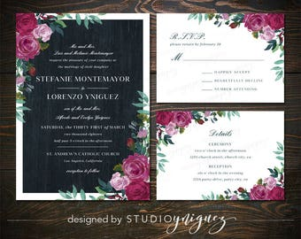 Classic Floral Wedding Printable Invitation Suite, Marsala Navy Wedding Printable Invitation Set, Digital Wedding Invitation Suite