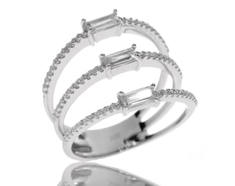 3-Layer Stratified Ring in Sterling Silver