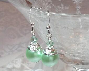 Peridot Crystal and  Pearl Bridal Bridesmaid Earrings