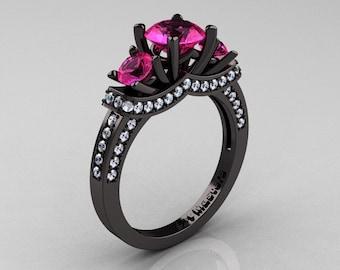 French 14K Black Gold Three Stone Pink Sapphire Diamond Engagement Ring R182-14KBGDPS