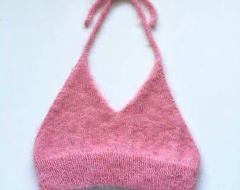 Hand Knitted Fluffy Halter Bralette/Crop Top in Pink