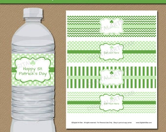 St Patricks Day Party Decorations - Printable St Patricks Water Labels - DIY St Patricks Day Decor - EDITABLE St Pats Water Bottle Stickers