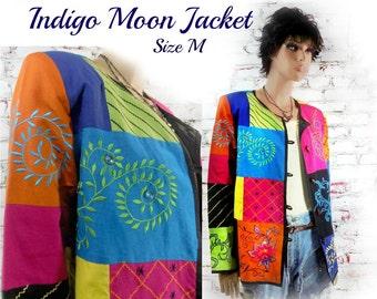 Color block jacket , colorful jacket , embellished jacket,   Boho jacket , Spring coat ,  embroidery jacket , upcycled coat ,  # 12