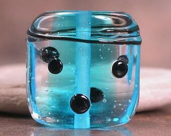 Lampwork Focal Bead, Square Lampwork Focal Bead, Watery Aqua Blue, Encased Lampwork, Divine Spark Designs, SRA