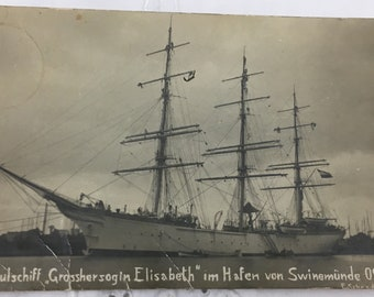 1909 Real Photo Postcard RPPC School Ship Grand Dutchess Grosshersogin Elisabeth