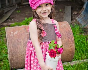 5 Sizes Hot Pink Newsboy Baby Newsboy Hat Baby Girl Newsboy Cap Toddler Newsboy Toddler Girl Hat Womens Newsboy Crochet Newsboy Buckle
