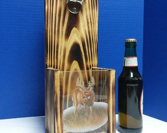 Rustic wooden bottle opener, Whitetail Deer