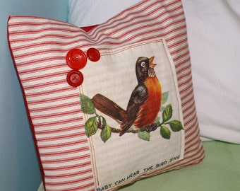 The Free Bird Sings.... an upcycled story book pillow cover