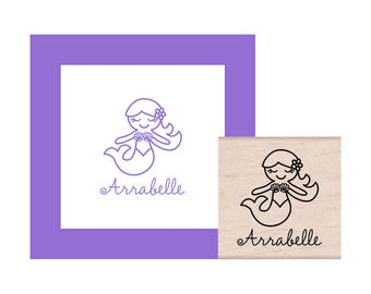 Mermaid Personalized Rubber Stamp