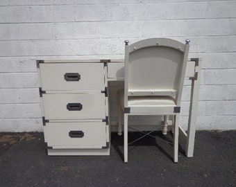 Vintage Campaign Desk Chair Office Work Mid Century Desk Table Vanity Makeup MCM Asian Chinoiserie Brass Storage Console CUSTOM PAINT Avail