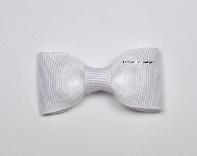 White Baby Hair Bow ~ 2 in. Bow with No Slip Grip ~ Small Hair Bows Newborns Toddler Girls