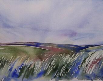 Flint Hills, Kansas Landscape, Original Watercolor