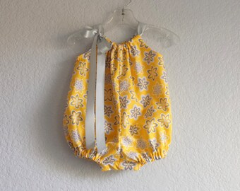 Baby Girls Mustard Yellow Bubble Romper - Yellow Sun Suit with Grey Flowers - Baby Girl Floral Romper - Size Nb, 3m, 6m, 9m, 12m, 18m or 24m