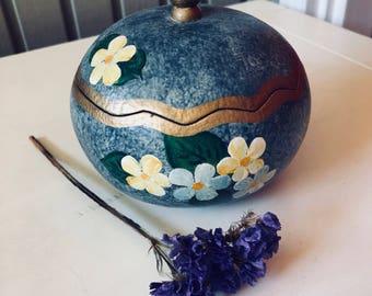 Vintage Hand Painted Gourd Keepsake Box