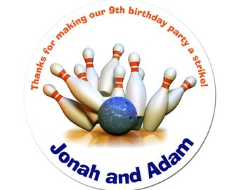 Custom Bowling Birthday Labels Personalized Round Glossy Favor Stickers For Birthdays or Any Occasion