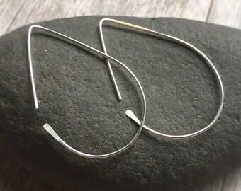 Large Teardrop Hoop Earrings Silver Tear Drop Earrings Open Hoops 14k Gold Filled Hoops Sterling Silver Hoops Silver Earrings 14k Rose Gold