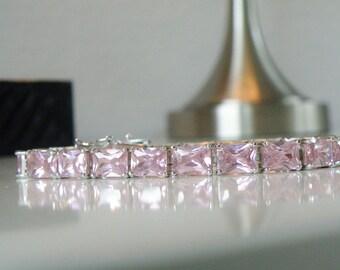 Estate Sterling Silver 925 30ct Rose Pink Simulated Kunzite Gemstone Tennis Line Bracelet
