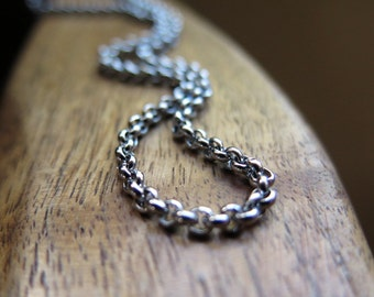 mens necklace. stainless steel jewelry. rolo chain. made in Canada.
