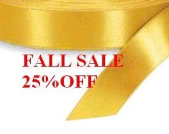 1.5 x 50 yds Single Face Satin Ribbon - LIGHT GOLD