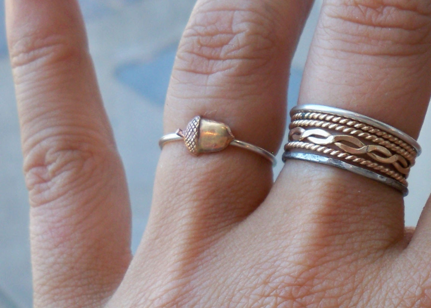 Sale!!! Tiny Little Acorn Sterling Silver Stacking Ring - Brass on Silver - custom made to order
