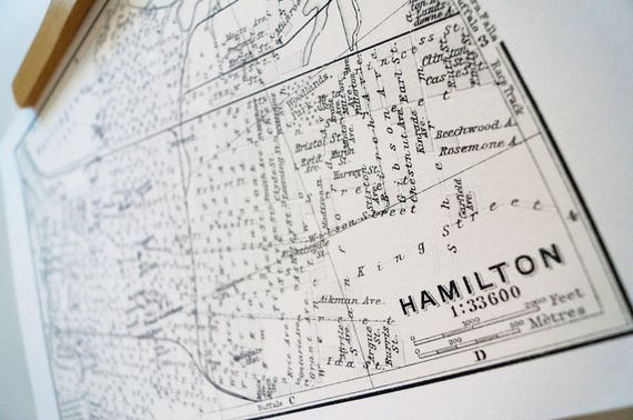 Old map of Hamilton, Ontario antique map print on YHM bamboo paper Canadian made in Canada souvenir Ontario YHM Hammer McMaster James Street